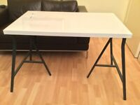 (Reserved) Ikea Linnmon Table & Lerberg trestle legs (White/grey, 100cm x 60cm, brand new, RRP £16)