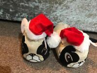 Pug Christmas slippers