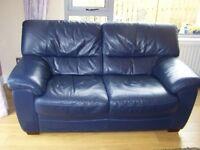 3 piece suite, leather, dark blue
