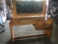 Pine Dressing Table with Mirror and Two Drawers