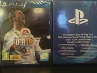 Fifa 18, PS4, sealed + 14 day ultimate team trial pack