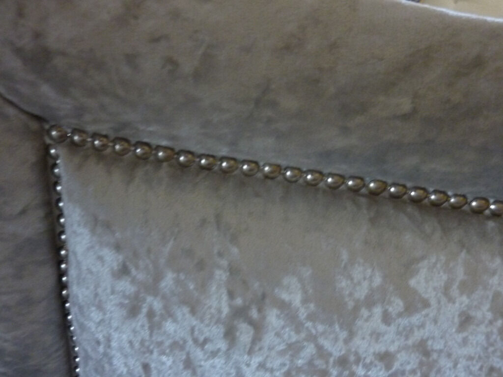 Double Bed Grey Crushed Velvet Headboard With Beaded Detailing Immaculate 12 Months Old