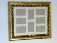 "LARGE MULTI-PHOTO DISPLAY WITH GOLD COLOURED FRAME. HOLDS EIGHT 6""x4"" PHOTOS. COULD USE AS A MIRROR"