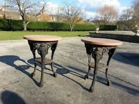 Pair of cast iron tables