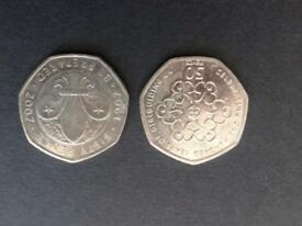 50p coins Girl guide and Cub scouts