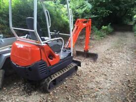 Mini digger and driver available for hire