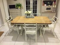 Table and Chairs - Oak Top, Shabby Chic, Farmhouse style