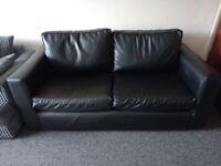 Faux Leather 2 Seater Sofa (Black)