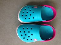 Crocs size 8/9 Blue, pink and white