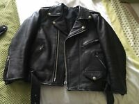 Ladies black leather biker jacket and black leather shorts for sale both in excellent condition