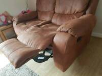 2 x 2 seater manual reclinging sofas in soft faux brown