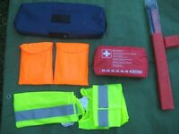 Car/Vehicle First Aid Kit + Warning Triangle, 2 High Visibility Tabards and 2 High Visibility Vests