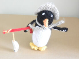 New Hand Knitted Fishing Penguin