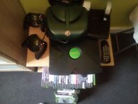 Original Xbox 2 controllers and remote for dvd 38 games steering wheel and pedals
