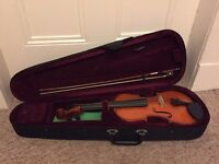 New Roling's 3/4 size wood violin with bow and hard case