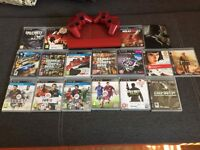 Ps3 superslim (limited editiond red)(2)dualshock controllers(17) games + psp portable(needs charger)