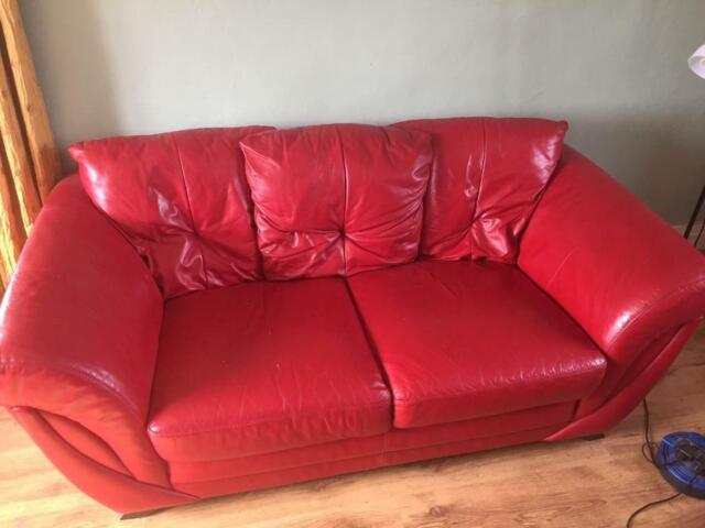 Cool Red Leather Sofa Two Arm Chairs And Ottoman Suite In Chippenham Wiltshire Gumtree Squirreltailoven Fun Painted Chair Ideas Images Squirreltailovenorg