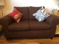 Small brown Ikea 2 seater sofa - worn but suitable for reupholster or pets etc