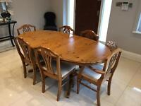 Ducal antique pine extending dining room table and chairs