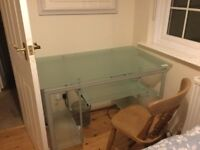 Desk. Frosted glass and steel. Excellent condition