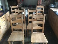 Set of six solid wood dining table chairs