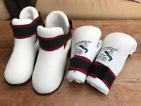 Martial arts gloves and shoes.