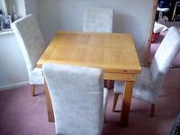 Beales Solid Oak Extendable Dining Table and 4 Chairs