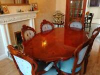 Inlaid Italian dining suite with six chairs