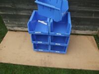 7 Stacking Storage boxes 10 x 7 x 5 Inch Heavy Duty Strong Plastic