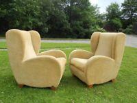 2 Fama Designer Wingback Comfy Armchairs