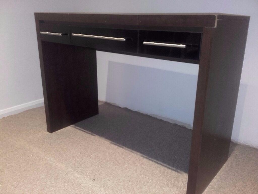 Next Walnut Effect And Black Gloss Dressing Table In Pulborough - Black gloss dressing table