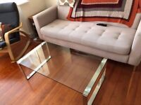 """John Lewis """"Tropez"""" Stainless Steel and Glass Coffee Table"""