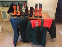Range of chainsaw clothing, high viz and workwear.