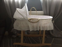 Moses Basket, Rocking Stand, Mattress, Mattress Protector and 4 Fitted Sheets