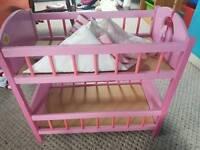 Hand built wooden bunk toy dolls cot