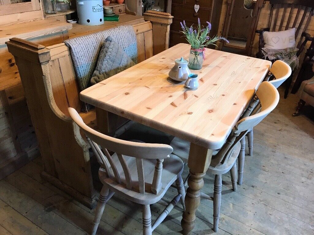 4 5 6 Seater Farmhouse Rustic Solid Pine Table Chairs And Church Pew Bench Set In Selby North Yorkshire Gumtree