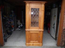 Pine Corner Unit with leaded glass door on top half