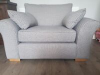 Next 2 seater snuggle sofa grey dog tooth fabric. Excellent condition. Like new. Smoke pet free home