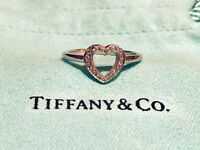 Tiffany & Co. Genuine Platinum & Diamond Ring with Tiffany Box & Pouch Platinum PT950 - Open Heart