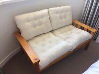2 seater cream/wood sofa