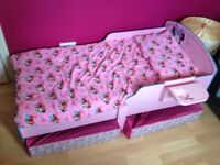 Disney Minnie Mouse Toddler Bed with Storage, Mattress & Bed Sheets