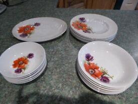 19 PIECE DINNER SET, POPPY DESIGN - Great condition, hardly used