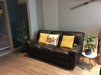 3 Seater Sofa from John Lewis Leather Recliner in Brown