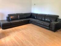 Black Leather Left Hand Corner Sofa