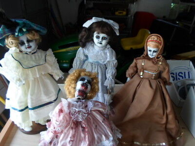 Porcelain Dolls Halloween (Set of 4-PORCELAIN DOLLS- MANNEQUIN HALLOWEEN/ZOMBIE Painted by Kristy)