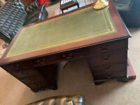 Mahogany pedestal desk with green leather top 1960s presidential desk