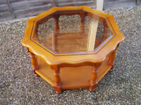 OCTAGONAL GLASS TOPPED COFFEE TABLE 80CM DIAMETER