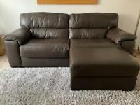 Sofology Genuine Leather 3 Seater Sofa Suite + matching footstool with storage