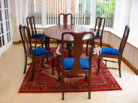 FABULOUS-ELEGANT - 1920'S OAK – CARVED DINING TABLE & 6 CHAIRS IN EXCELLENT CONDITION (CAN DELIVER)