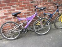 TWO ADULT BIKES FOR SALE IN GOOD CONDITION ONE LADIES ONE GENTS BOTH HAVE 16 GEARS
